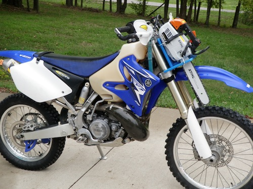 Chain Saw and Carrier on the YZ250