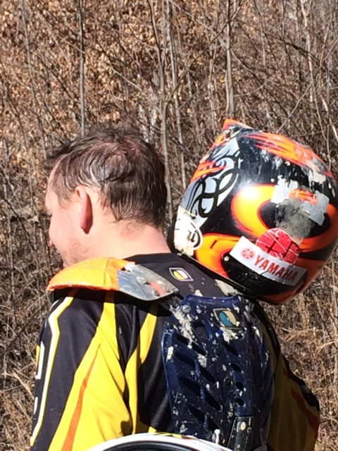 Yamaha Sticker on KTM Rider's Helmet (1)
