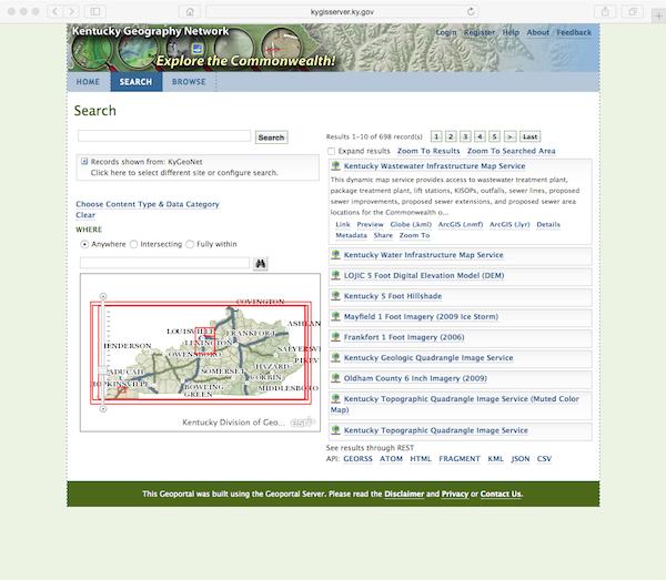 KyGeoPortal Search Page