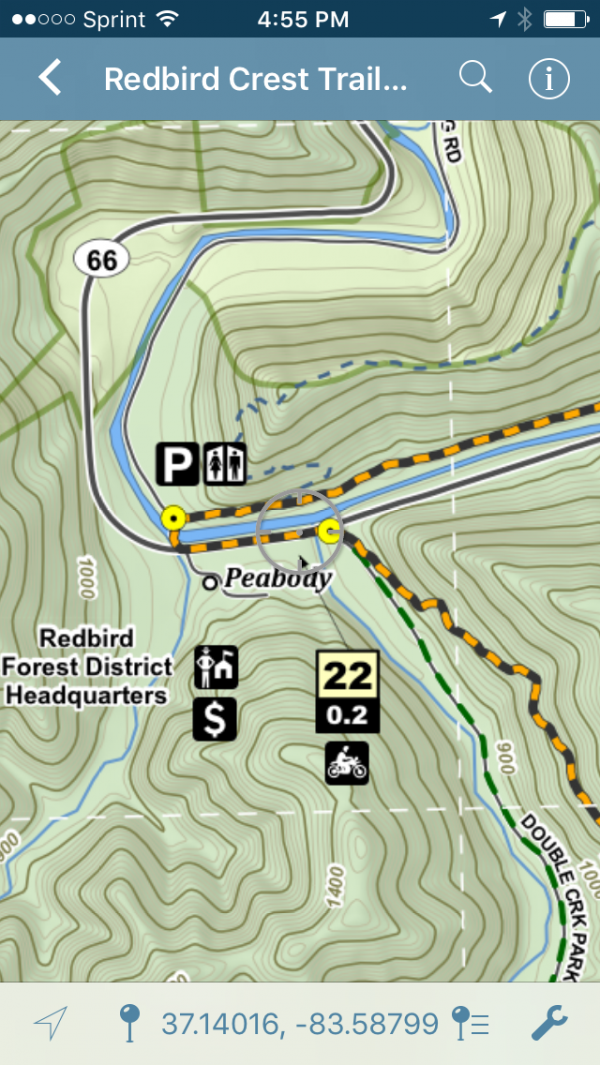 The Redbird Crest Trail in Avenza Maps